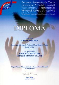 Interetnikai Színházi Fesztivál - Diploma