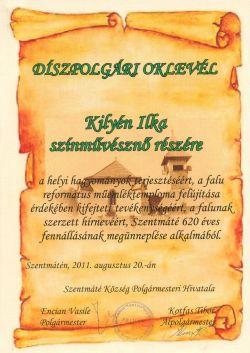 Szentmáté - Díszpolgári oklevél